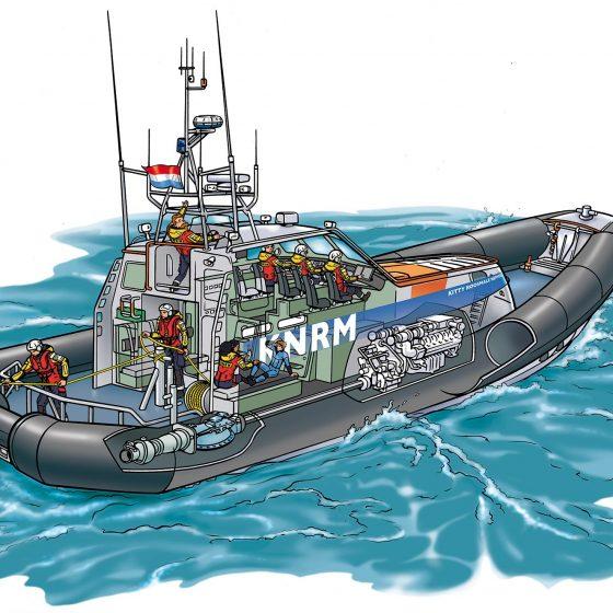 illustratie doorsnede reddingsboot KNRM i.o.v. Tekenteam.nl