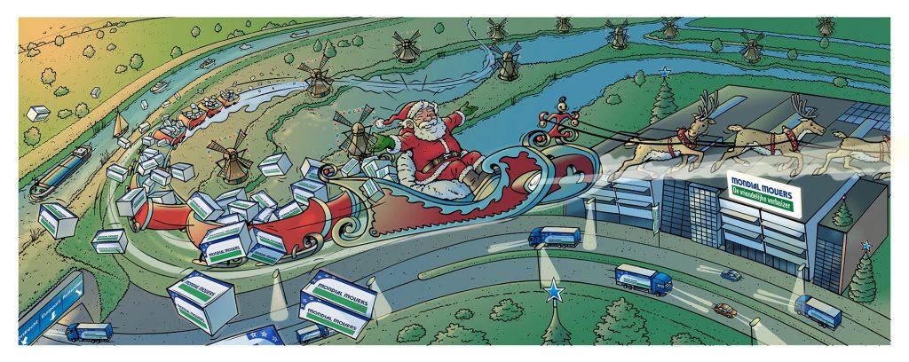illustratie kerstkaart Mondial Moovers i.o.v. Timereclame.nl