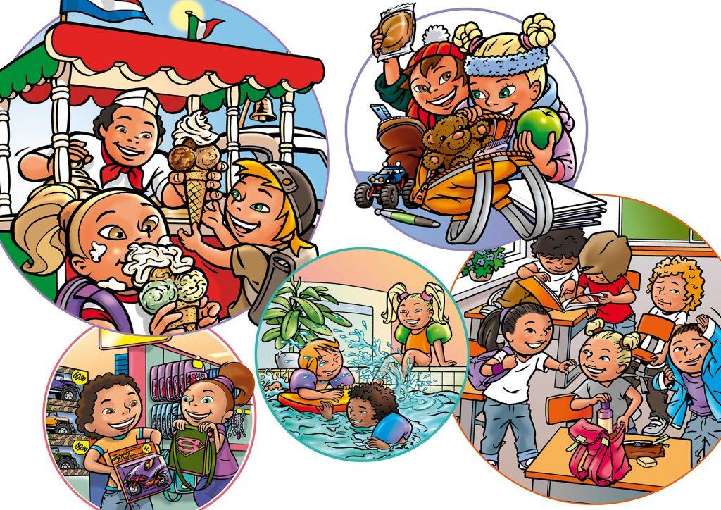illustraties voor Wis&Waar8tig groep 3-4(A) i.o.v. Hoek&Havenaar