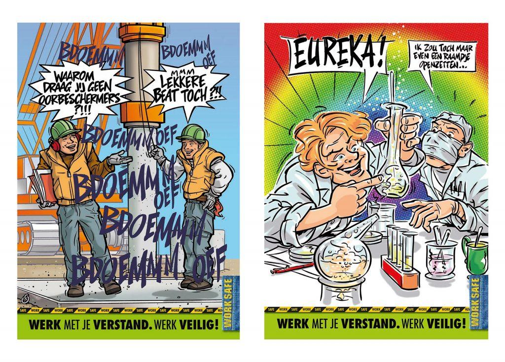 ontwerp en illustratie t.b.v. veiligheidsposter 'Arbo-gezondheid' i.o.v. Kristy Productions kopie