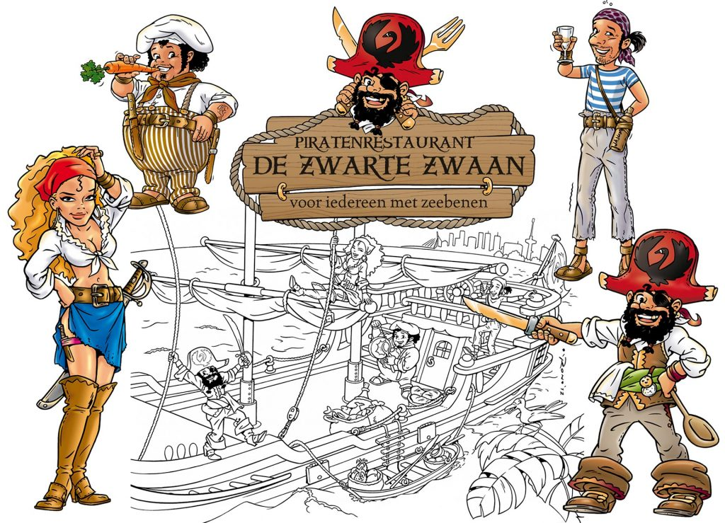 ontwerp en illustraties t.b.v. 'De Zwarte Zwaan' i.o.v. Crob.nl