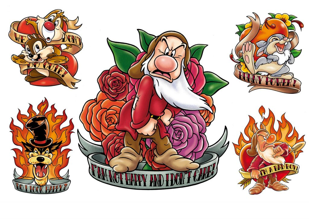 ontwerp en illustraties t.b.v. 'Disney Tattoos' i.o.v. spdr.nl
