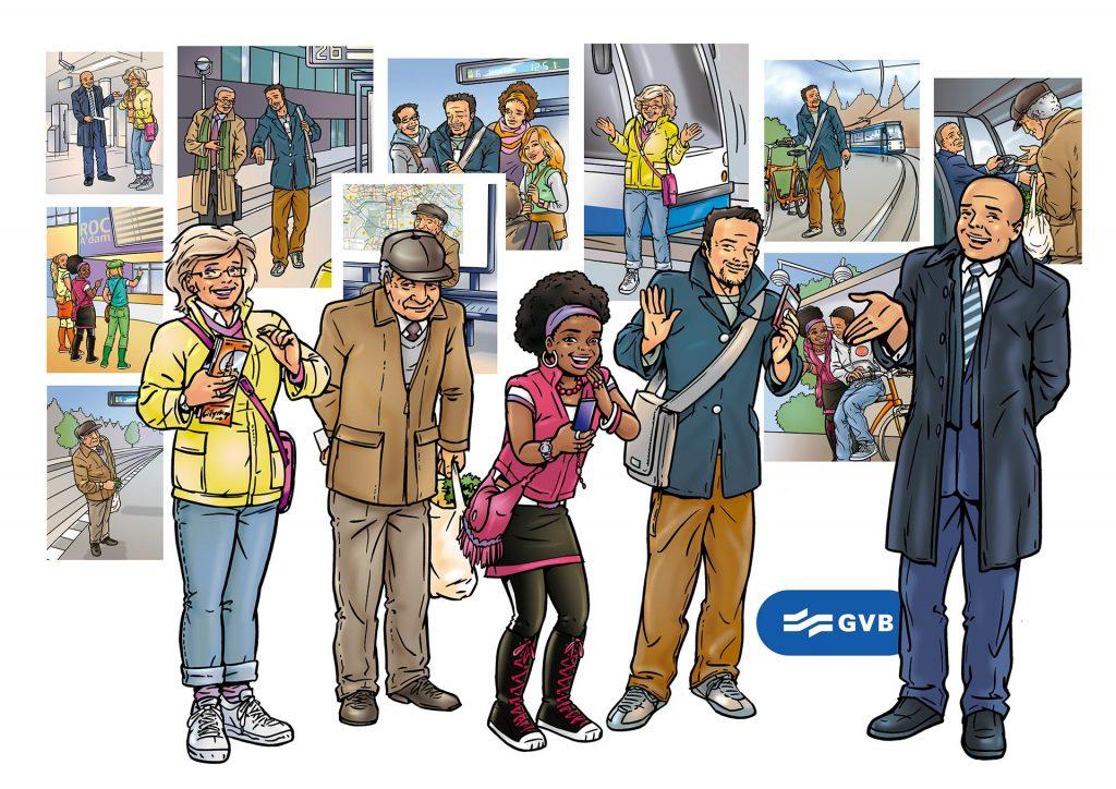 ontwerp en illustraties t.b.v. 'GVB A'dam' i.o.v. Tekenteam.nl