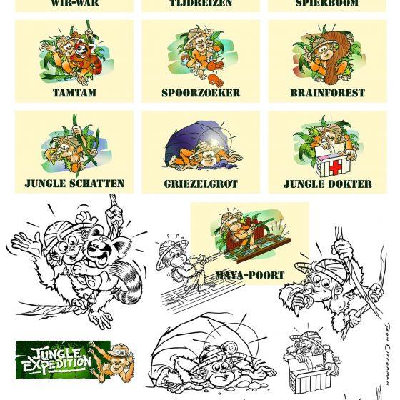 ontwerp en illustraties t.b.v. 'jungly'(WNF-Center Parcs)2 i.o.v. Hoek & Havenaar