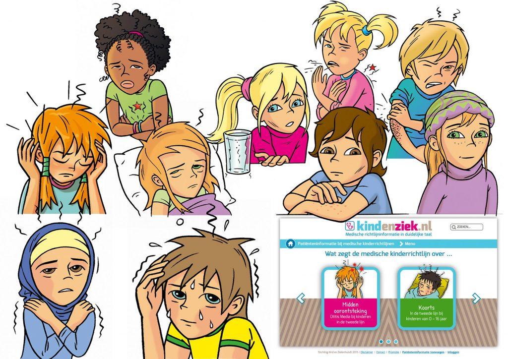 ontwerp en illustraties t.b.v. 'kindenziek.nl' i.o.v. Lexenzo.nl