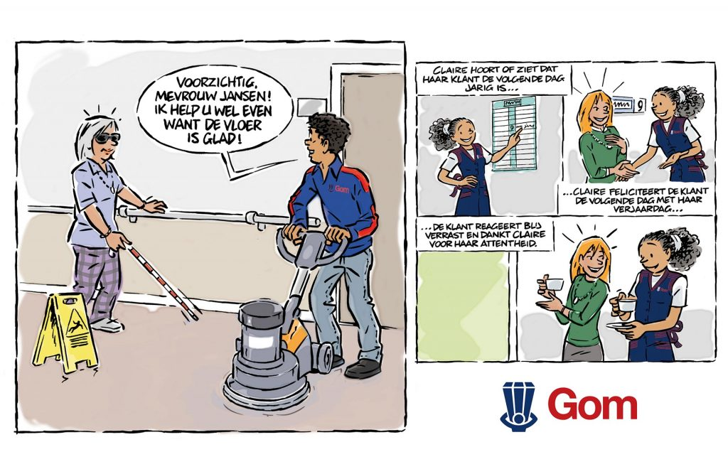 ontwerp en illustraties t.b.v. stripreeks 'Claire(GOM)' i.o.v. Facilicom.nl
