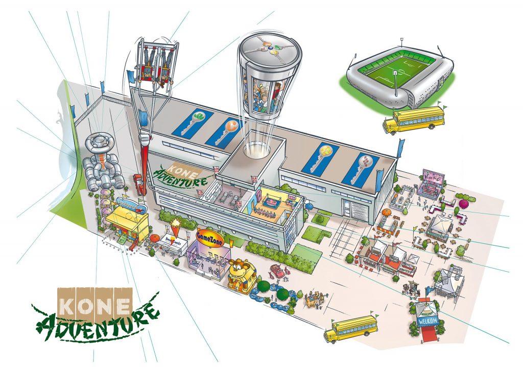 ontwerp en illustraties voor 'KONE Adventure-plattegrond i.o.v. Trend reclame