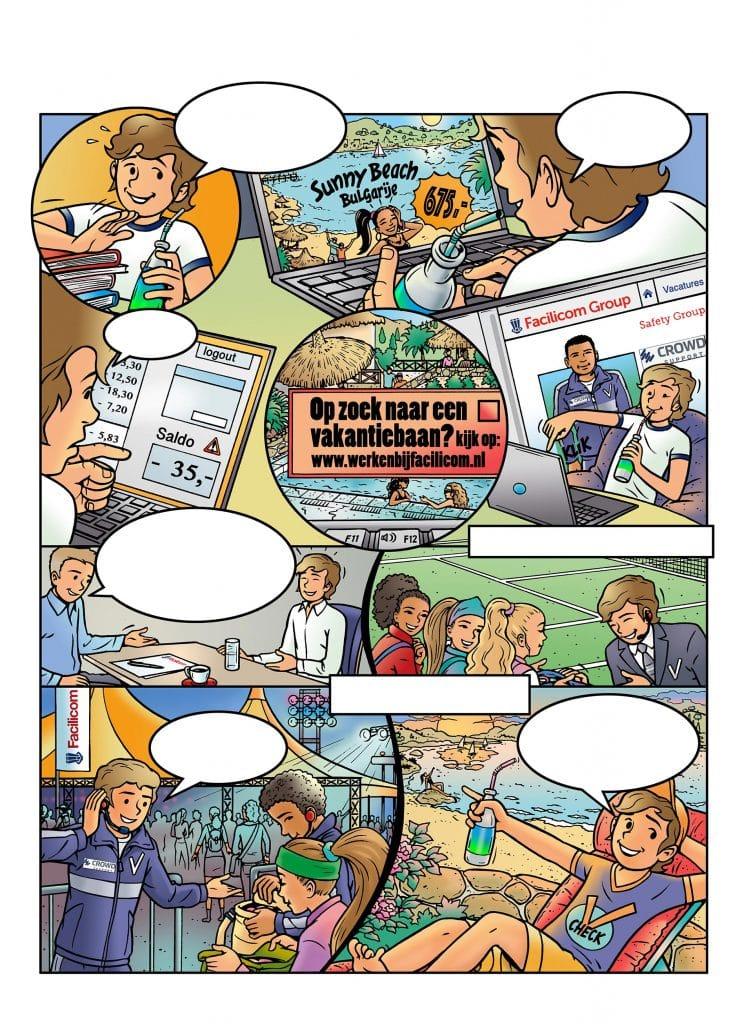 strip Eva-'Jongen op vakantie' i.o.v. Facilicom.nl