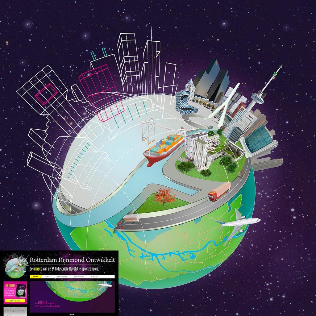 0ntwerp en illustraties t.b.v. 'Rotterdam Rijnmond ontwikkeld' i.o.v. AMD.nl