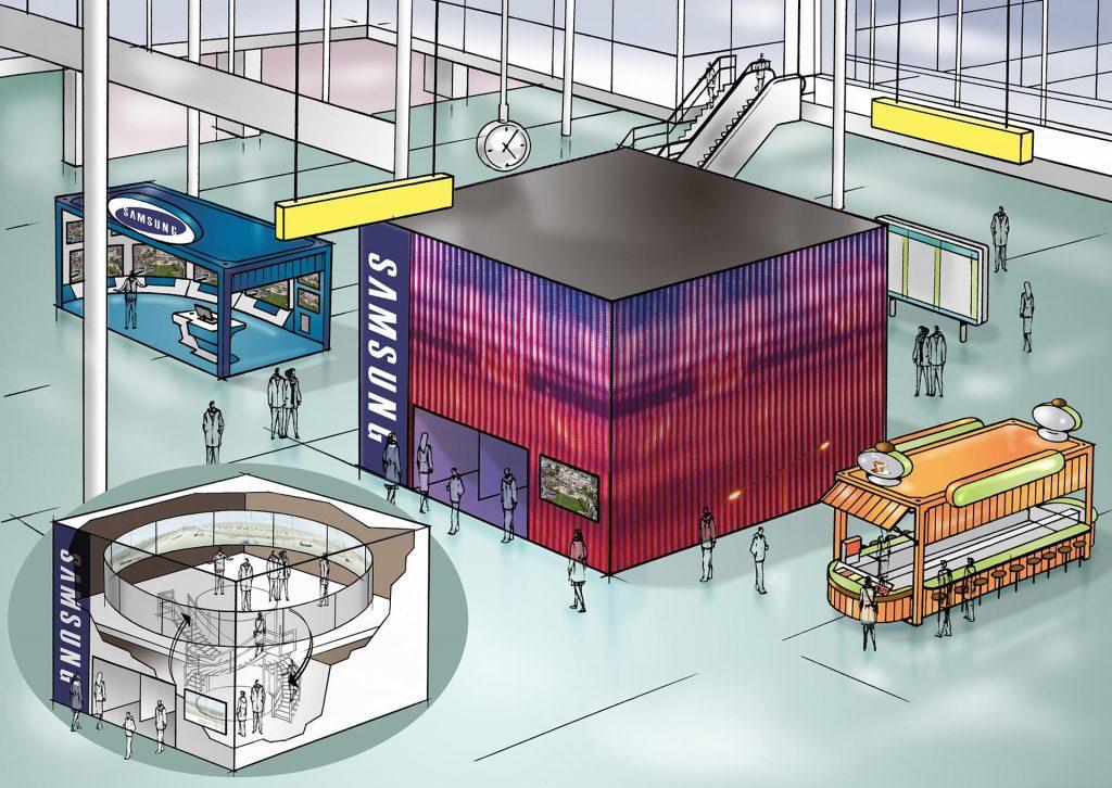 Schiphol-visual Samsung,i.o.v. ConspiracySinc