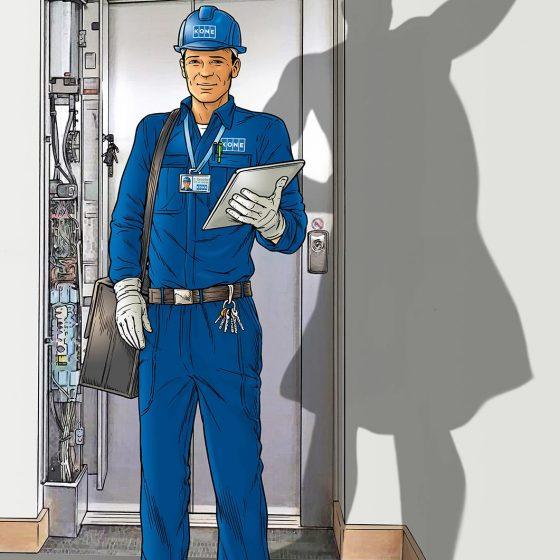 illustratie KONE liften,wervingscampagne i.o.v. aukesmits.nl