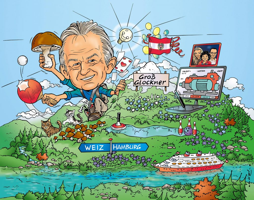 illustratie karikatuur 'Dad's 60th birthday' i.o.v. Newton21.nl