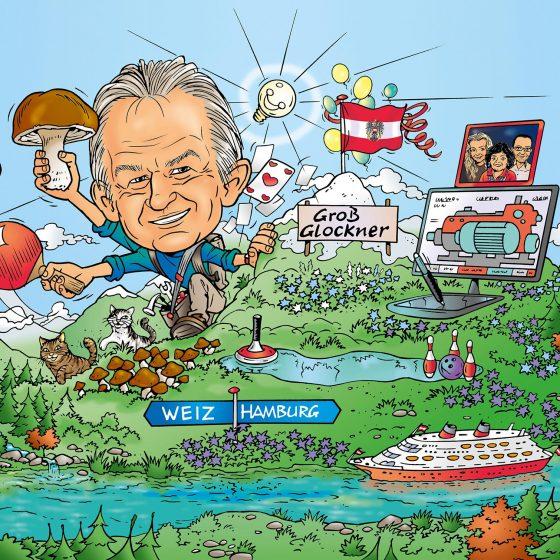 illustratie karikatuur 'Dad's 60th birthday' i.o.v. Newton21.nl