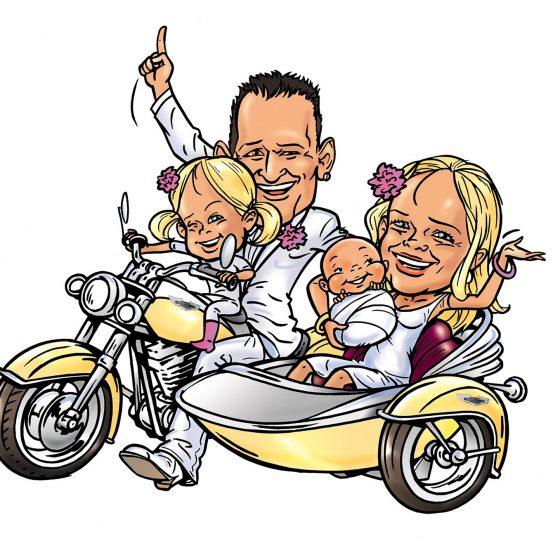 illustratie karikatuur 'trouwkaart'