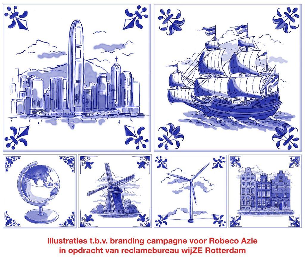 illustraties Robeco delfsblauwe tegels i.o.v. wijZE reclame