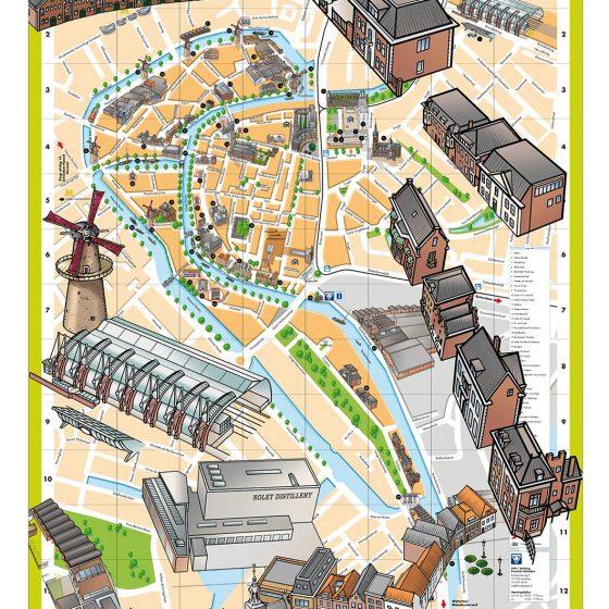 illustraties voor stadsplattegrond Schiedam