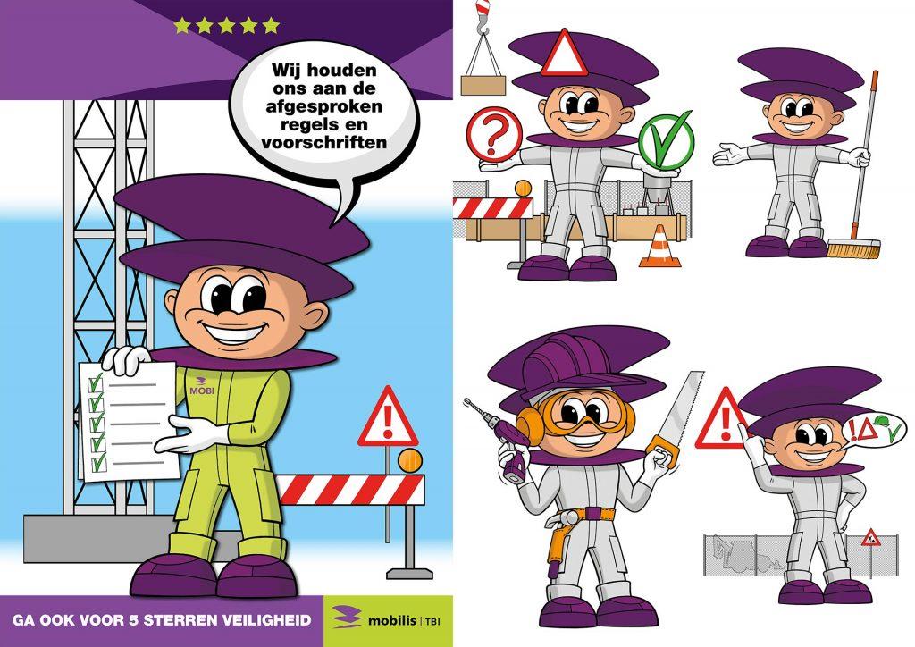 ontwerp en illustratie '5 veiligheidsregels poster Mobilis' i.o.v. Sterke Taal