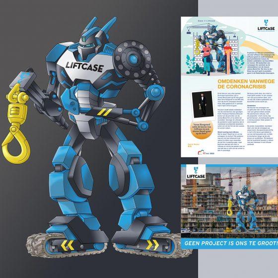 ontwerp en illustratie t.b.v. 'Liftcase-Transformer' i.o.v. Schot.nl