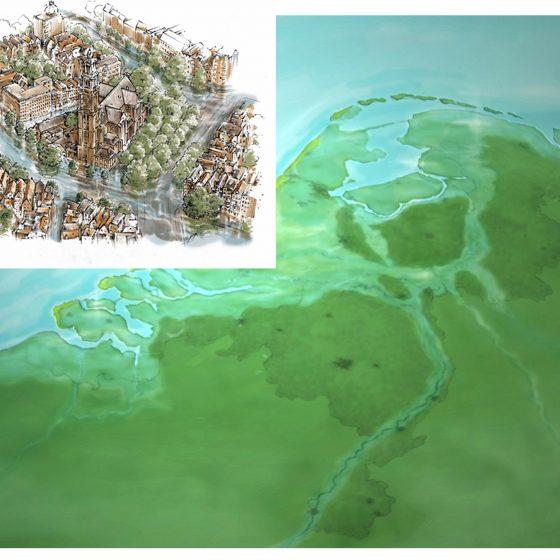 ontwerp en illustratie t.b.v. 'Nederland onder water'