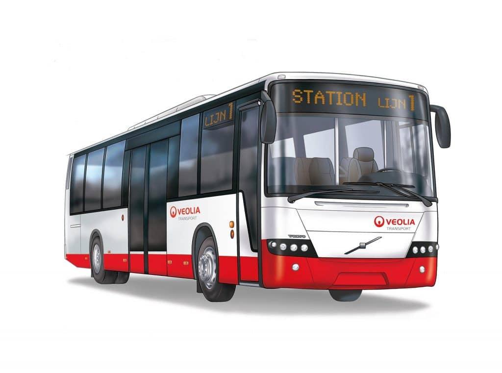 ontwerp en illustratie van 'Veolia bus' i.o.v. Volvo Nederland