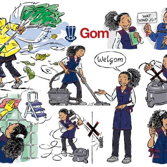 ontwerp en illustraties t.b.v. 'Claire(GOM)' i.o.v. Facilicom.nl