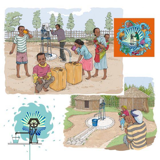 ontwerp en illustraties t.b.v. Ethiopian calendar-rope pump i.o.v. IDEA training