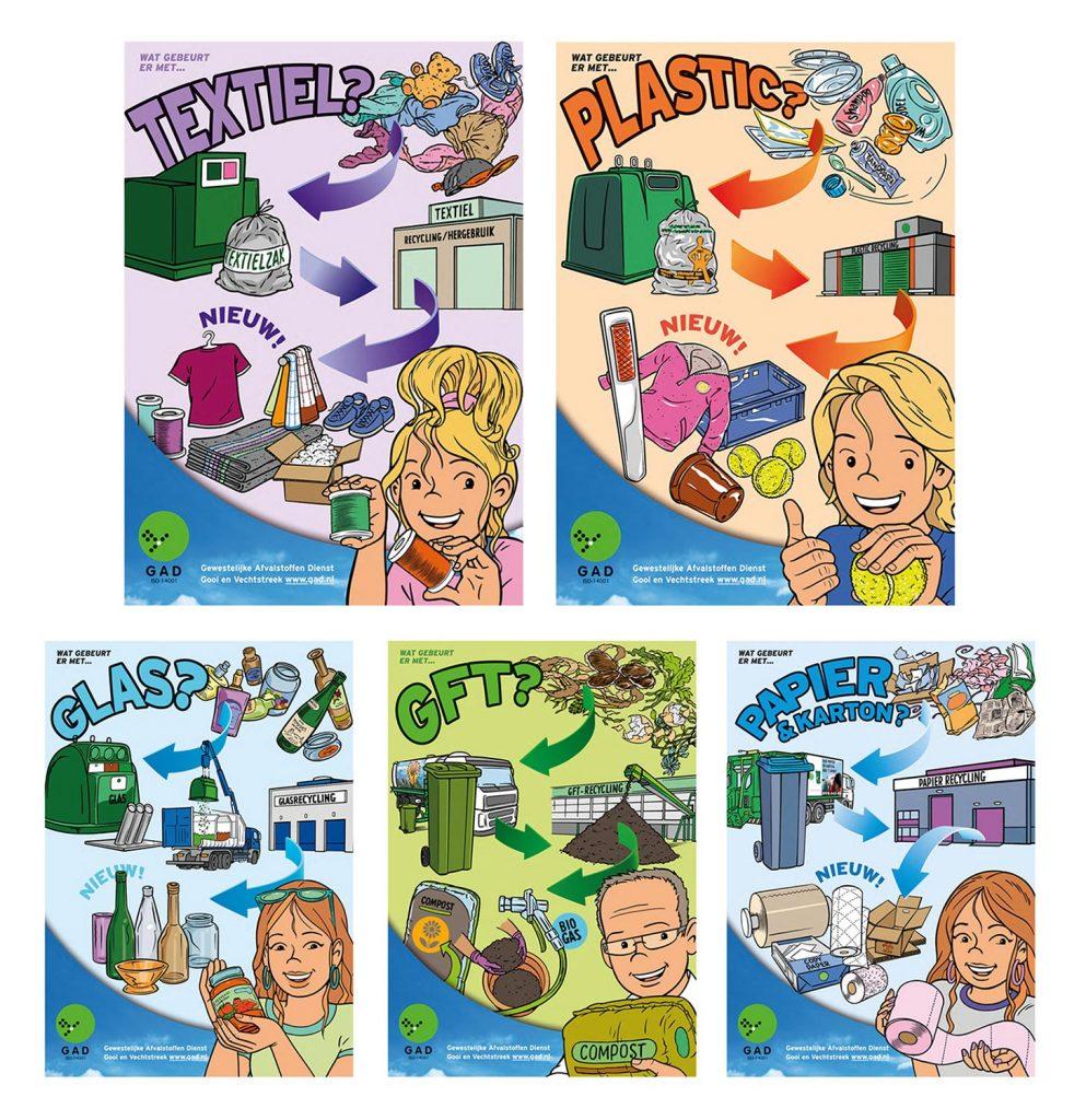 ontwerp en illustraties t.b.v. 'G.A.D.-GFT-posters' i.o.v. csomc.nl