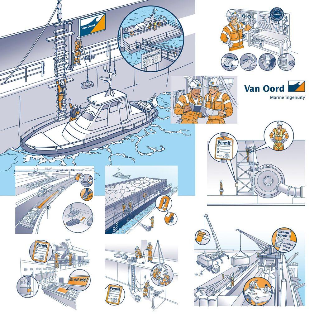 ontwerp en illustraties t.b.v. Van Oord 'Work Save' i.o.v. wijze.nl