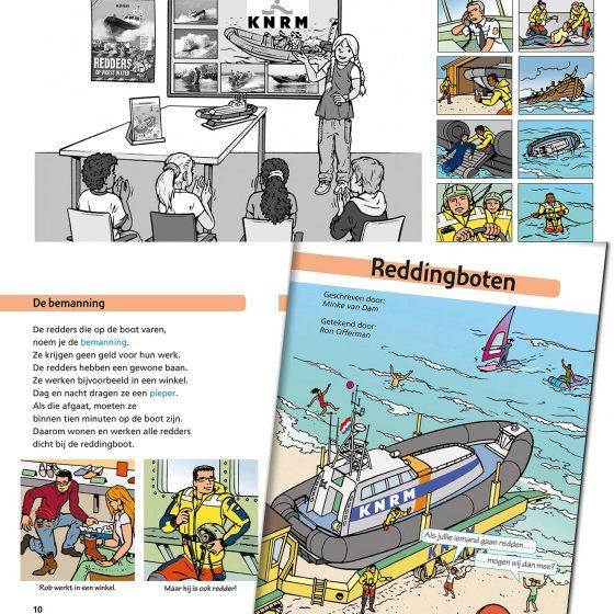ontwerp en illustraties t.b.v. boekje 'N 343 Reddingboten' i.o.v. Noordhoff