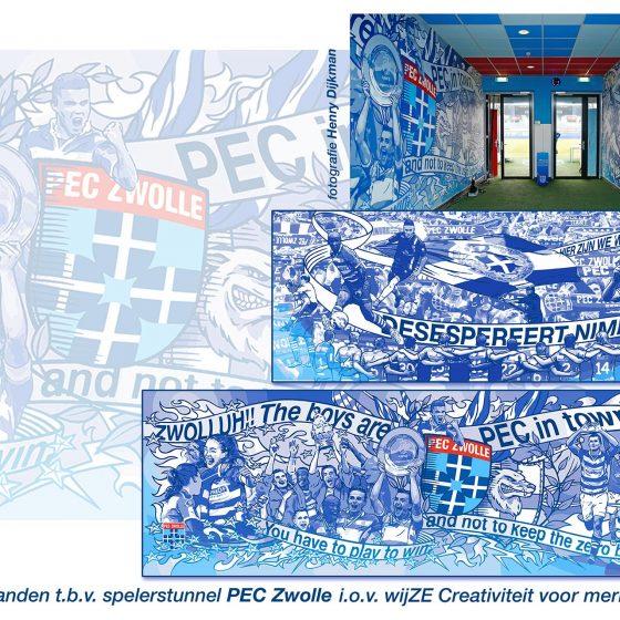 ontwerp & illustraties Spelerstunnel PEC Zwolle i.o.v. wijZE reclame