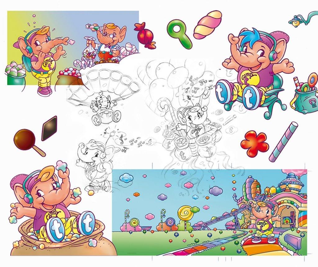 ontwerp karakter 'Candy T' i.o.v. Tekenteam.nl