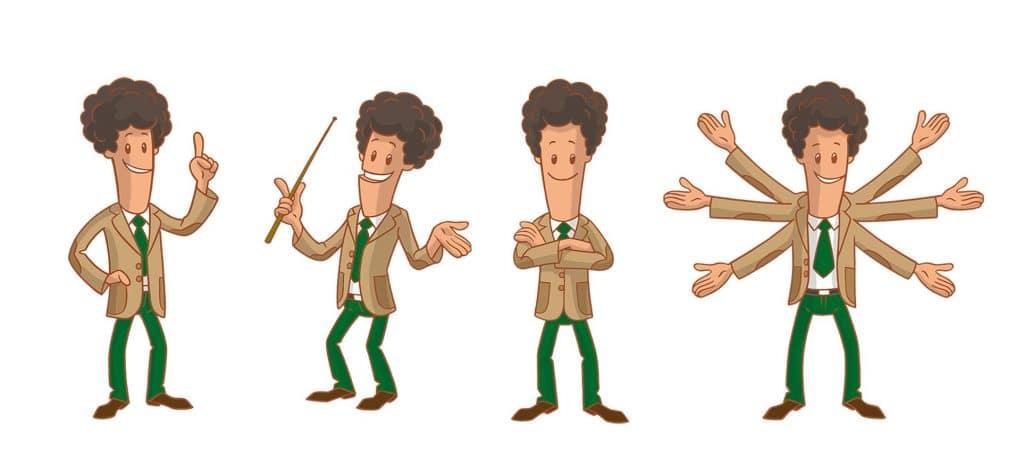 ontwerp karakter 'Prof.Bright' i.o.v. facilicom.nl