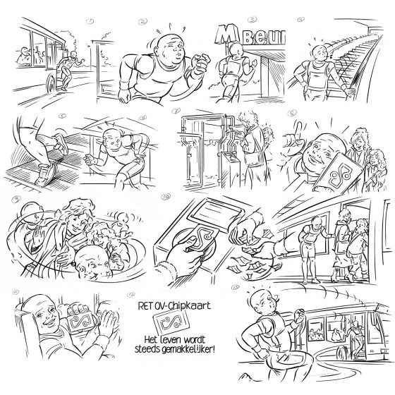 storyboard t.b.v. 'promofilm RET OV-chipkaart' i.o.v. AMD.nl