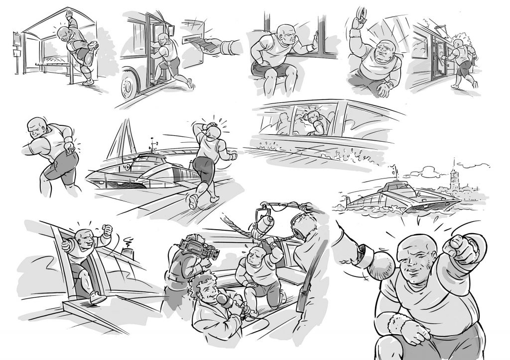 storyboard t.b.v. 'promofilm RET watervervoer' i.o.v. AMD.nl