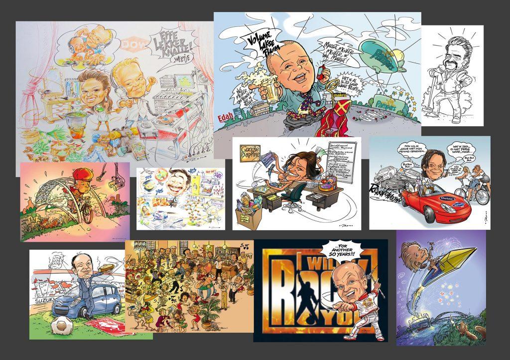 verschillende karikaturen