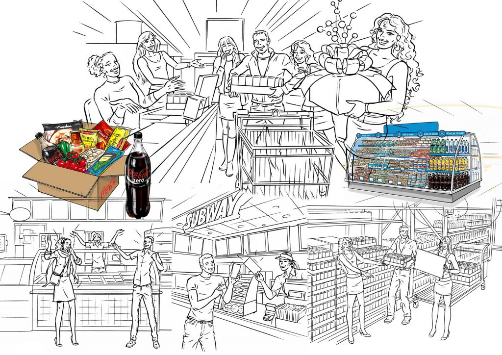visuals t.b.v. schappenindelingen 'Coca-Cola' i.o.v. Finally communication